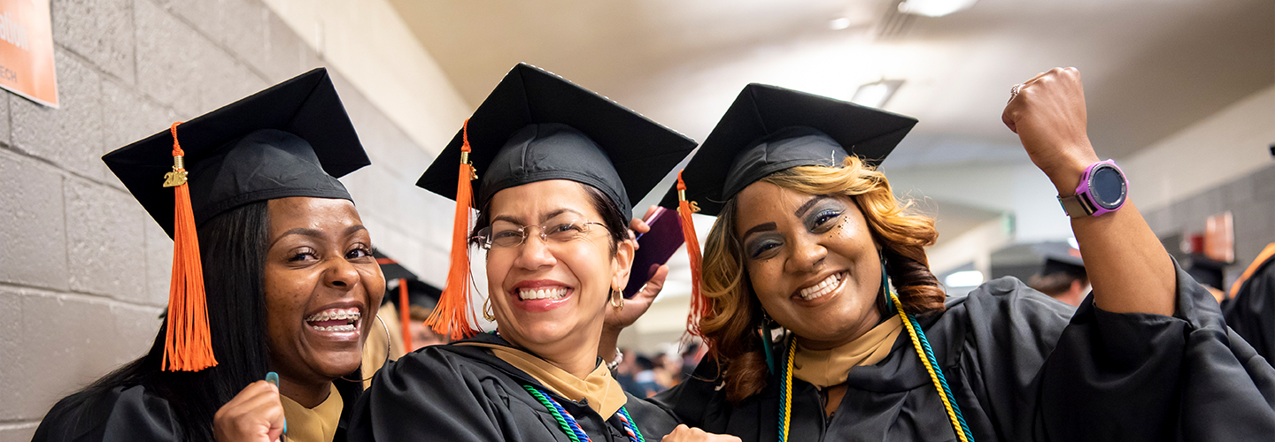 Graduating students during commencement